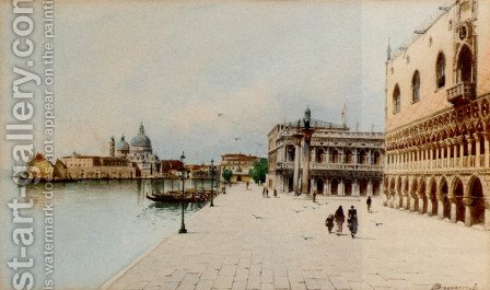 A Stroll In Front Of The Doge's Palace by H. Biondetti - Reproduction Oil Painting