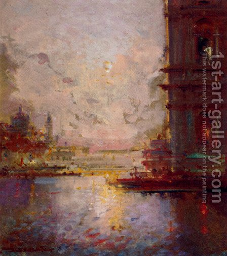 Venice At Dusk by Henri Duvieux - Reproduction Oil Painting