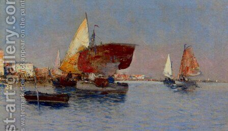 Fishing Vessels In The Venetian Lagoon by César María Herrer Marcher - Reproduction Oil Painting