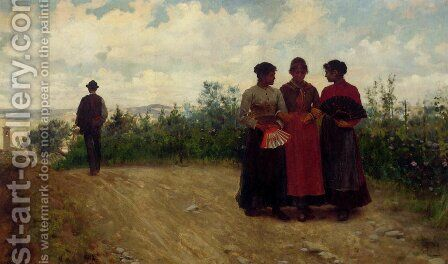 Gossips In The Roman Campagna by Arturo Faldi - Reproduction Oil Painting