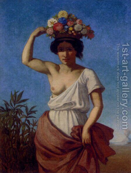 A Pompeiian Beauty Carrying Fruit by August Jernberg - Reproduction Oil Painting