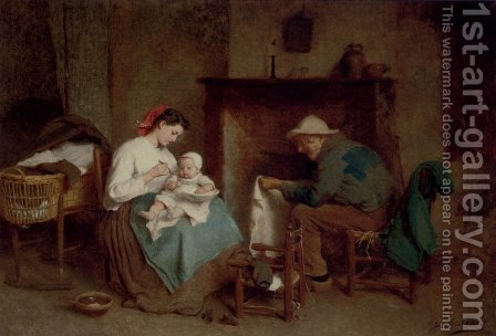 Mealtime With Grandpa by Charles Moreau - Reproduction Oil Painting