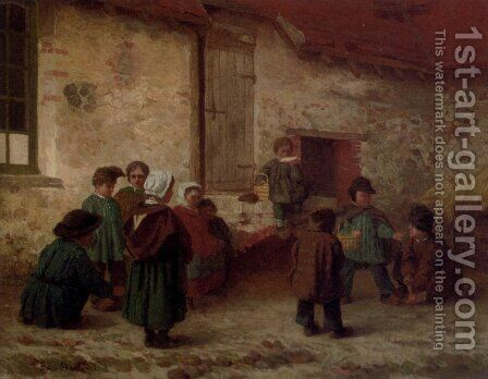 A Break From School by Antoine Edouard Joseph Moulinet - Reproduction Oil Painting