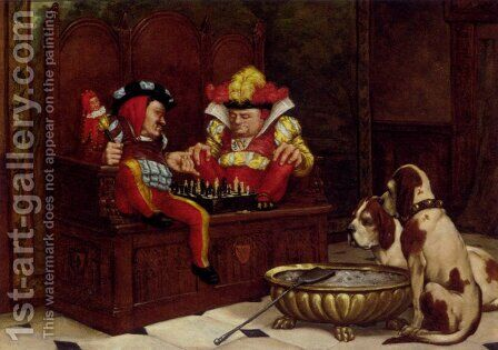 A Game For The Entertainers by Charles Louis Kratke - Reproduction Oil Painting
