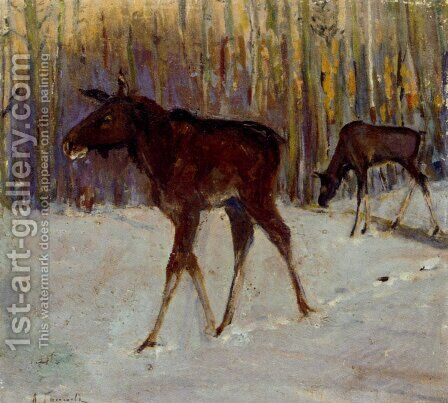 Elks In Winter Woodland by Aleksi Stepanovich Stepanov - Reproduction Oil Painting