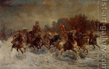 A Siberian Gold Convoy by Adolf Baumgartner-Stoiloff - Reproduction Oil Painting