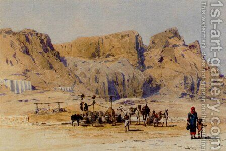 A Camel Train At Aden by Charles Wilda - Reproduction Oil Painting