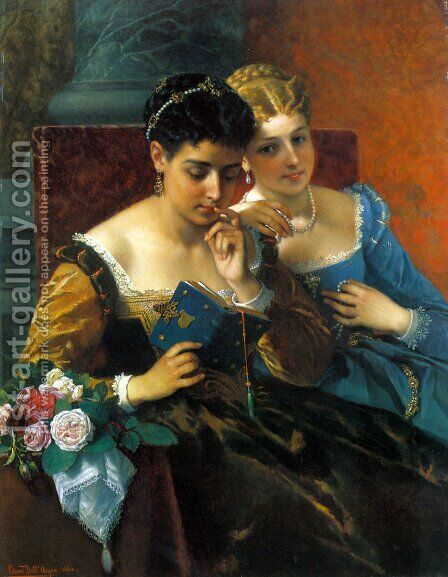 A Shared Moment by Cesare Felix dell' Acqua - Reproduction Oil Painting