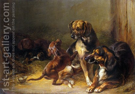 Dogs and Whelps by Benno Adam - Reproduction Oil Painting