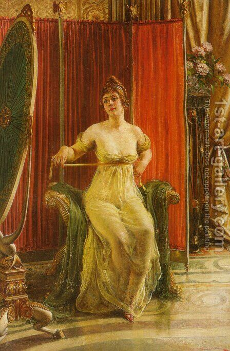 A Lady in her Boudoir by Charles Joseph Frederick Soulacroix - Reproduction Oil Painting