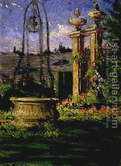 In the Gardens of the Villa Palmieri by James Carroll Beckwith - Reproduction Oil Painting