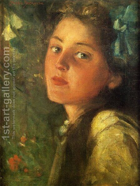 A Wistful Look by James Carroll Beckwith - Reproduction Oil Painting