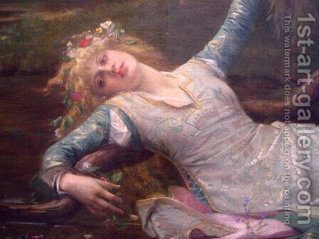 Ophelia [detail] by Alexandre Cabanel - Reproduction Oil Painting