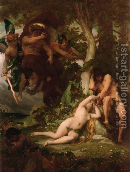 The Expulsion of Adam and Eve from the Garden of Paradise by Alexandre Cabanel - Reproduction Oil Painting