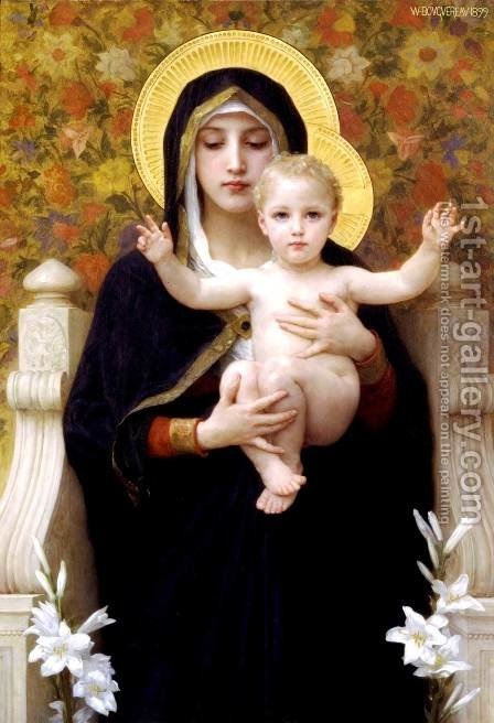 La Vierge au Lys (The Virgin of the Lilies) by William-Adolphe Bouguereau - Reproduction Oil Painting