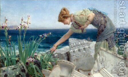 Among the Ruins by Sir Lawrence Alma-Tadema - Reproduction Oil Painting