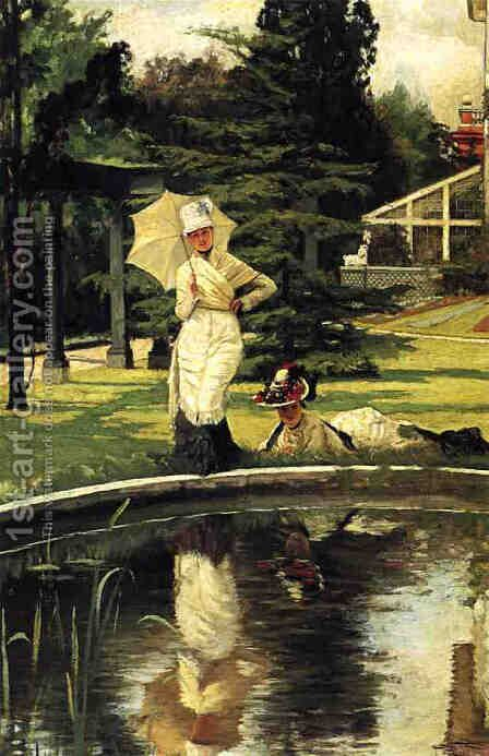 In an English Garden by James Jacques Joseph Tissot - Reproduction Oil Painting
