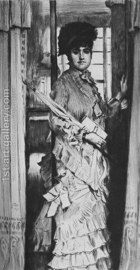Portrait de Miss L ..., ou Il faut qu'une porte soit ouverte ou fermée (Portrait of Miss L ..., or A Door Must Be Either Open or Shut) by James Jacques Joseph Tissot - Reproduction Oil Painting