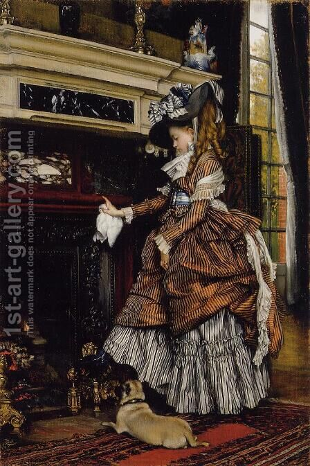 The Fireplace by James Jacques Joseph Tissot - Reproduction Oil Painting