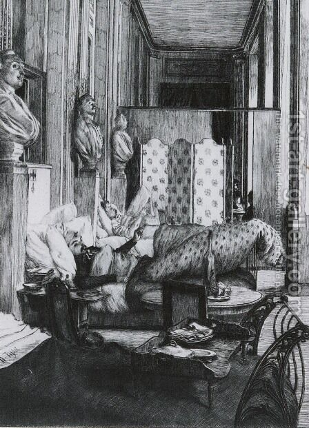 'Le Foyer de la Comedie Francaise pendant le Siege de Paris. (The Gallery of the Comedie Francaise during the Siege of Paris, 1870') (or Un Souvenir) by James Jacques Joseph Tissot - Reproduction Oil Painting
