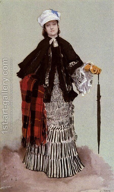 A Lady in a black and white Dress (or Study for The Return from the Boating Trip) by James Jacques Joseph Tissot - Reproduction Oil Painting