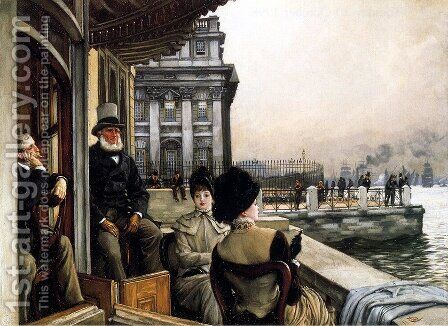 TheTerrace Of The Trafalgar Tavern, Greenwich, London by James Jacques Joseph Tissot - Reproduction Oil Painting