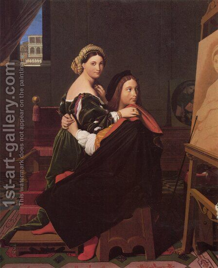 Raphael and the Fornarina by Jean Auguste Dominique Ingres - Reproduction Oil Painting