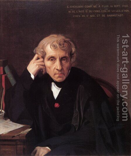 Maria Luigi Carlo Zenobio Salvatore Cherubini by Jean Auguste Dominique Ingres - Reproduction Oil Painting