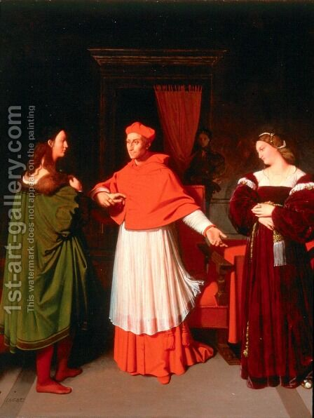 The Betrothal of Raphael and the Niece of Cardinal Bibbiena by Jean Auguste Dominique Ingres - Reproduction Oil Painting