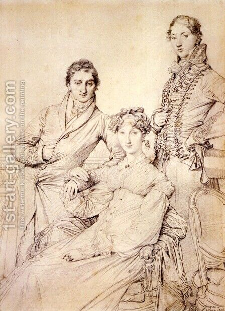 Jospeh Woodheda and his wife, born Harriet Comber, and her Brother, Henry George Wandesford Comber by Jean Auguste Dominique Ingres - Reproduction Oil Painting