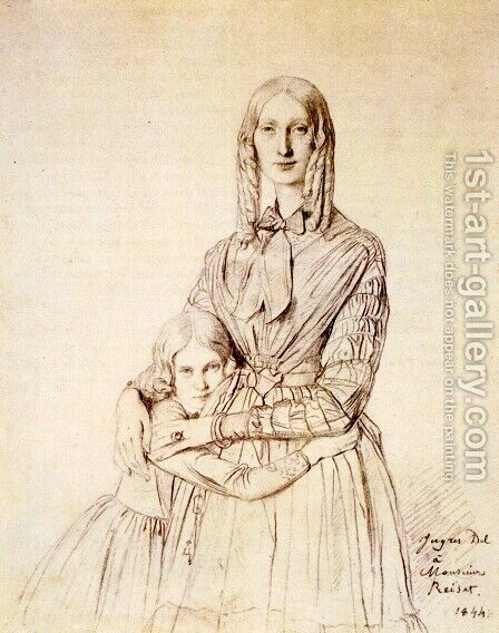 Madame Frederic Reiset, born Augustine Modest Hortense Reiset, and her daughter, Theres Hortense Marie by Jean Auguste Dominique Ingres - Reproduction Oil Painting