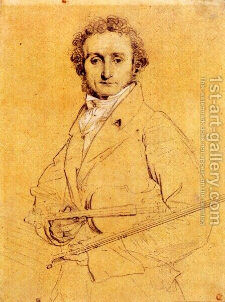 Niccolo Paganini by Jean Auguste Dominique Ingres - Reproduction Oil Painting