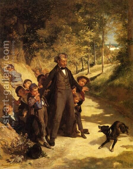 Protecting the School Children by Andre Henri Dargelas - Reproduction Oil Painting