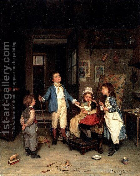 The Doctor's Visit by Andre Henri Dargelas - Reproduction Oil Painting