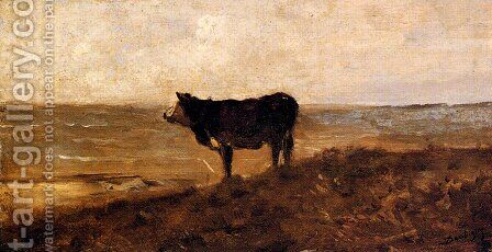 The Lone Cow by Charles-Francois Daubigny - Reproduction Oil Painting