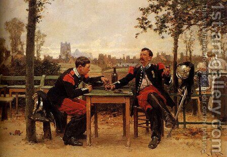 The Commander's Feast by Alphonse de Neuville - Reproduction Oil Painting