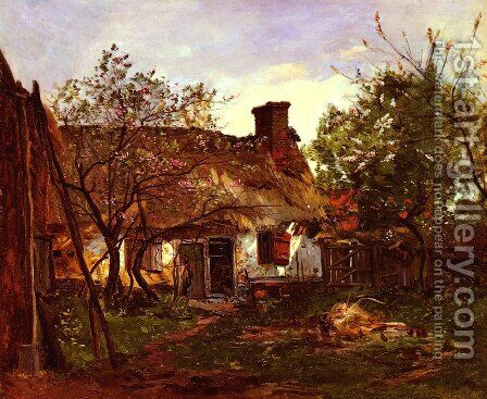 La Chaumiere A Berneval (Thatched Cottage in Berneval) by Hippolyte Camille Delpy - Reproduction Oil Painting