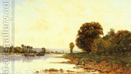 Washerwomen in a River Lanscape with Steamboats beyond by Hippolyte Camille Delpy - Reproduction Oil Painting
