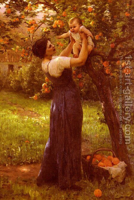 Mere Et Enfant Dans Le Jardin (Mother and Child in the Garden) by Hippolyte Camille Delpy - Reproduction Oil Painting