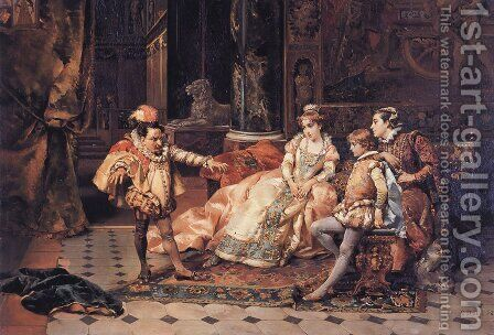 The Court Jester by Cesare-Auguste Detti - Reproduction Oil Painting