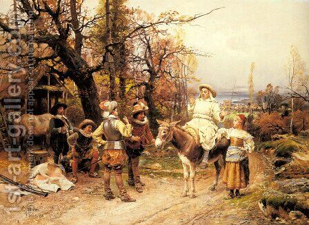 A Halt along the Way by Cesare-Auguste Detti - Reproduction Oil Painting