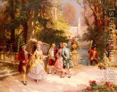 The Castle Garden by Cesare-Auguste Detti - Reproduction Oil Painting