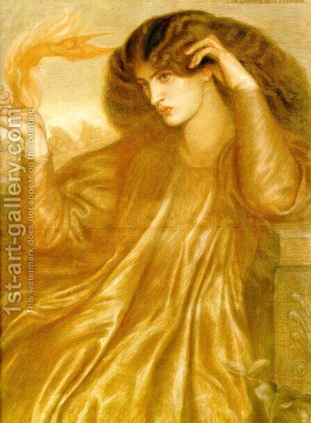 La Donna della Fiamma (The Lady of the Flame) by Dante Gabriel Rossetti - Reproduction Oil Painting
