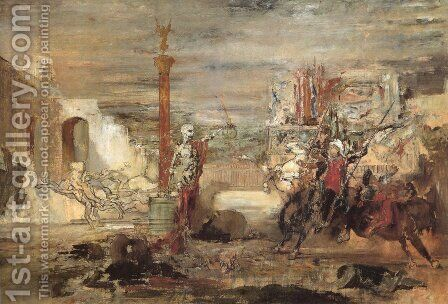 Death Offers Crowns to the Winner of the Tournament by Gustave Moreau - Reproduction Oil Painting