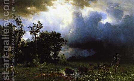 Buffalo Trail (or The Impending Storm) by Albert Bierstadt - Reproduction Oil Painting