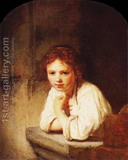 A Girl at a Window by Rembrandt - Reproduction Oil Painting