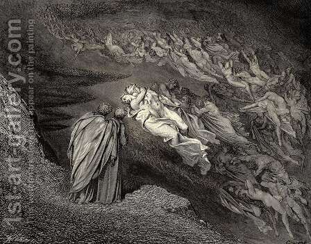 The Inferno, Canto 5, lines 105-106: 'Love brought us to one death: Caina waits The soul, who spilt our life.' by Gustave Dore - Reproduction Oil Painting
