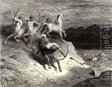 The Inferno, Canto 12, lines 73-74: We to those beasts, that rapid strode along, Drew near by Gustave Dore - Reproduction Oil Painting