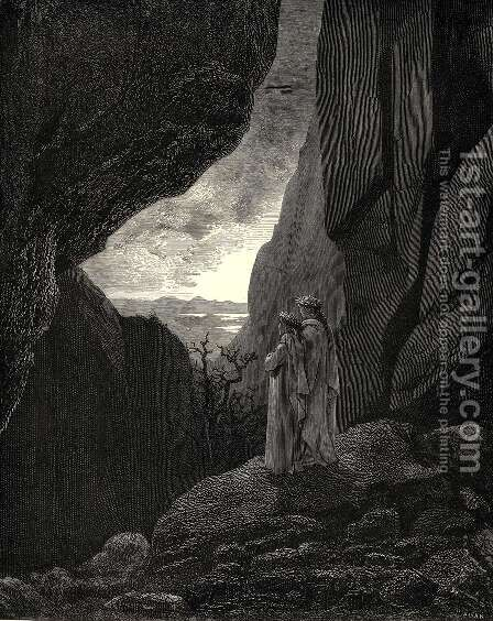 The Inferno, Canto 34, lines 127-129: By that hidden way My guide and I did enter, to return To the fair world by Gustave Dore - Reproduction Oil Painting