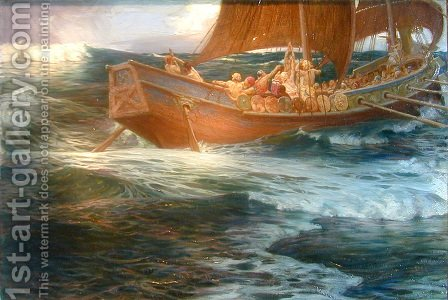 Wrath of the Sea God by Herbert James Draper - Reproduction Oil Painting